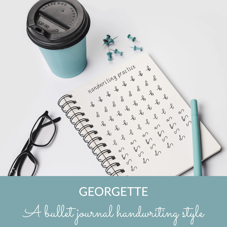 85 Pages Georgette Handwriting Worksheets Bullet Journal