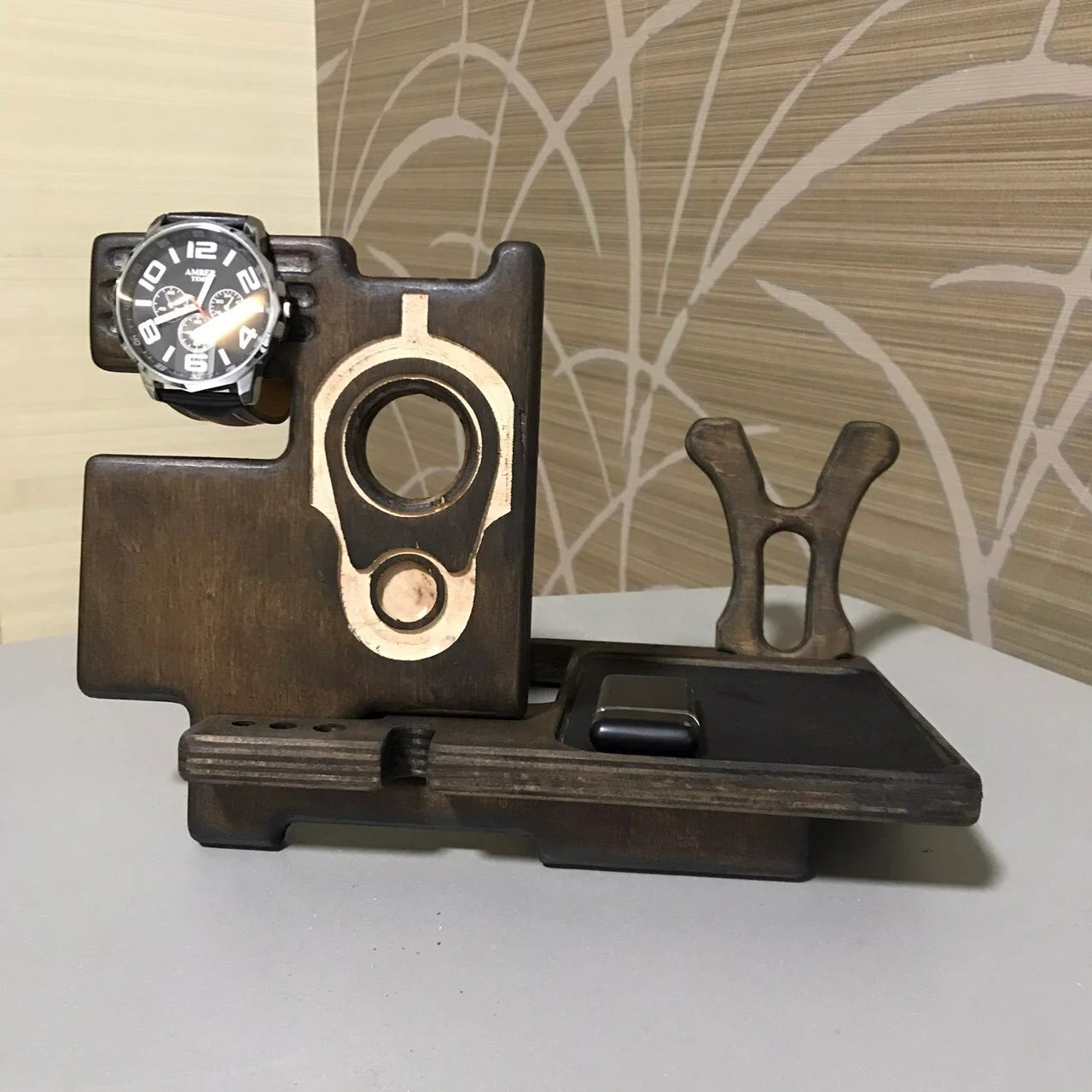 Gun Rack With Nightstand Phone Organizer Pistol Stand Charging Station And Weapon Rack Stand Gift For Groom From Bride