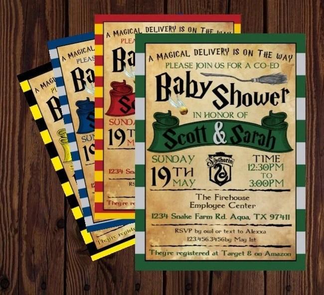 Harry Potter Inspired Baby Shower Invitation Printable Invite Hogwarts Gryffindor Ravenclaw Hufflepuff Or Slytherin Digital File