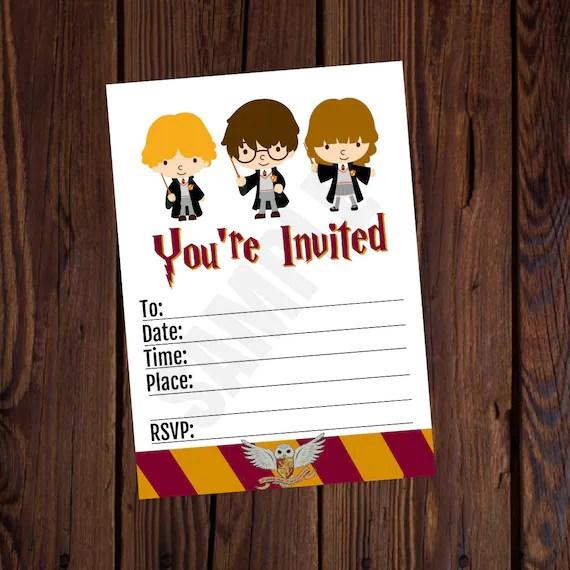 Harry Potter Ha Ispirato Stampabile Compleanno Invito 5 X 7 Blank Compilarlo Da Soli Download Immediato Nessuna Attesa Biglietto Di Ringraziamento