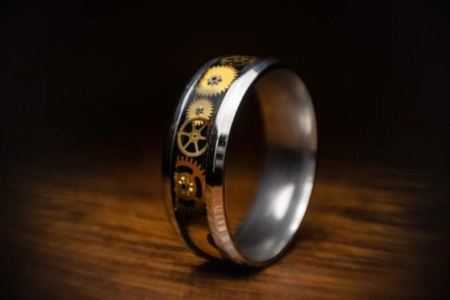 Titanium Steampunk Ring  12