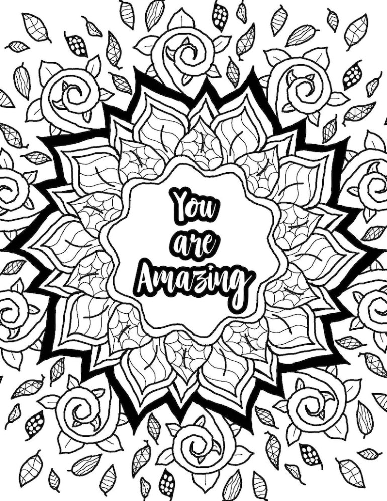 Adult coloring page inspirational quote printable coloring ... | free printable inspirational coloring pages for adults