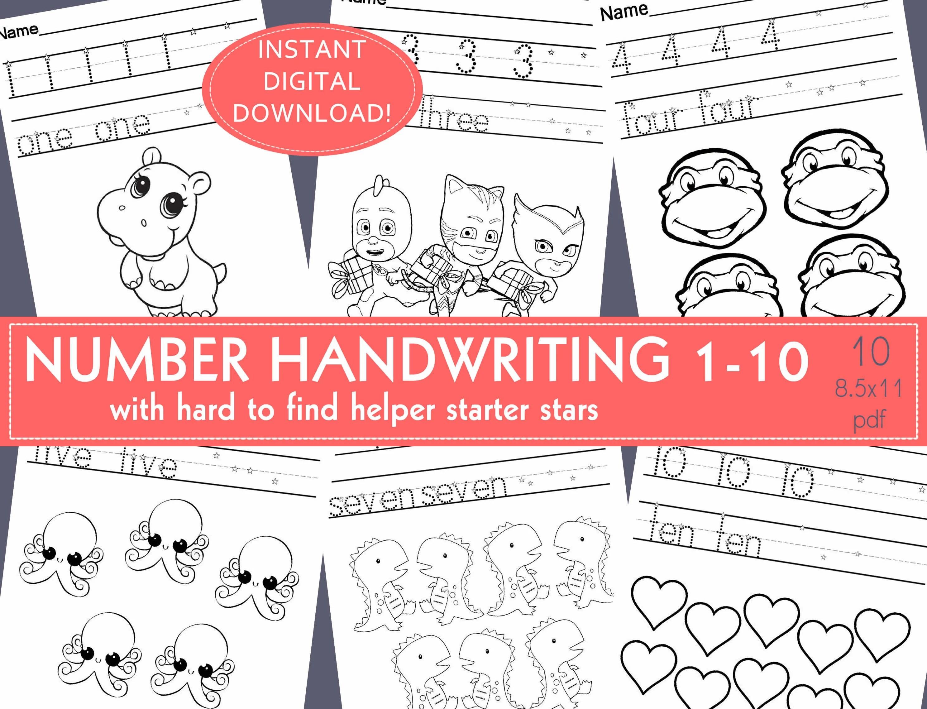 Number Handwriting Practice Worksheets Prek