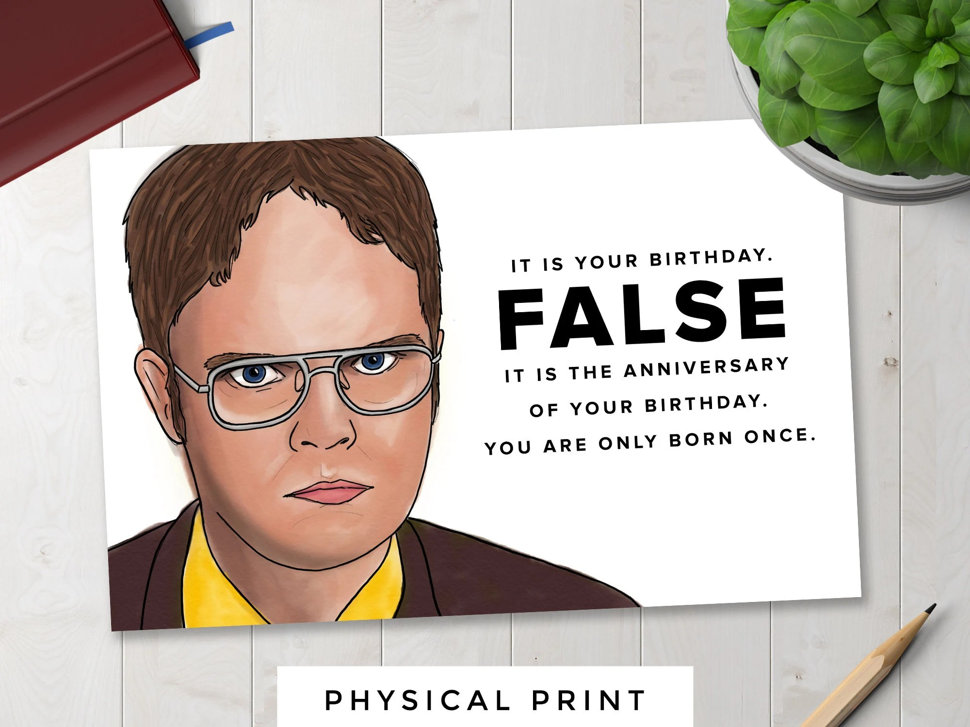 The Office Dwight Schrute False Birthday Card Etsy