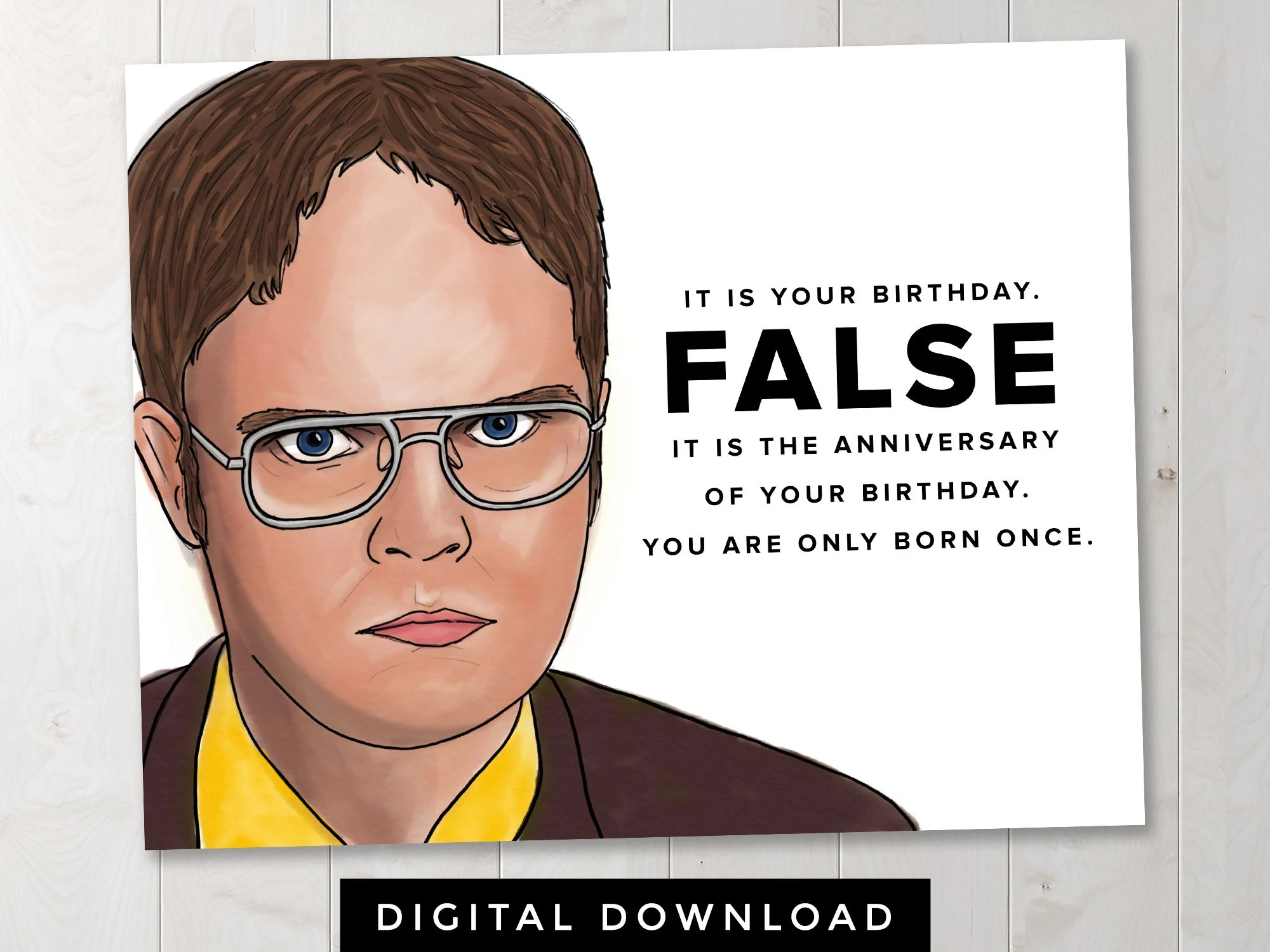 The Office Dwight Schrute False Birthday Digital Download Etsy