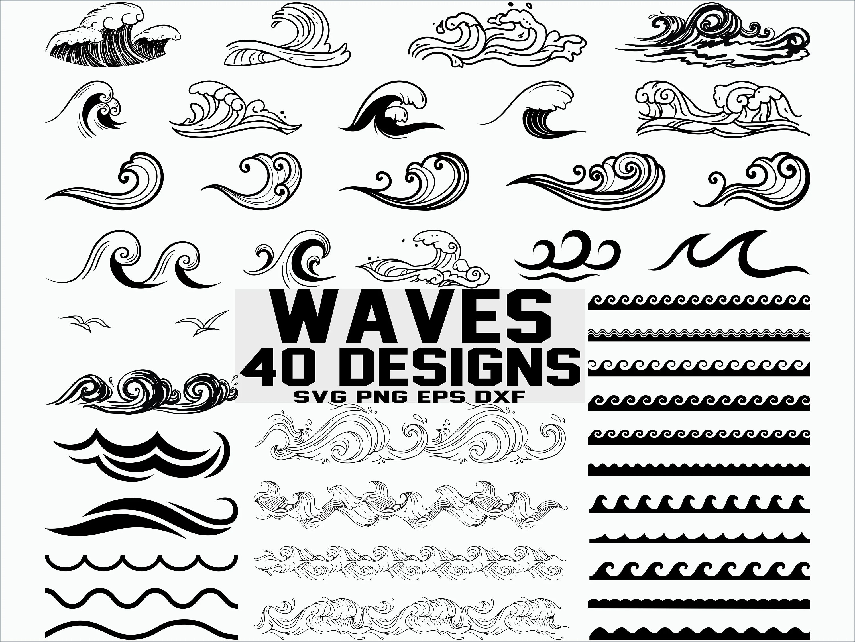 Wave Svg Sea Waves Svg Ocean Waves Svg Clipart Cut