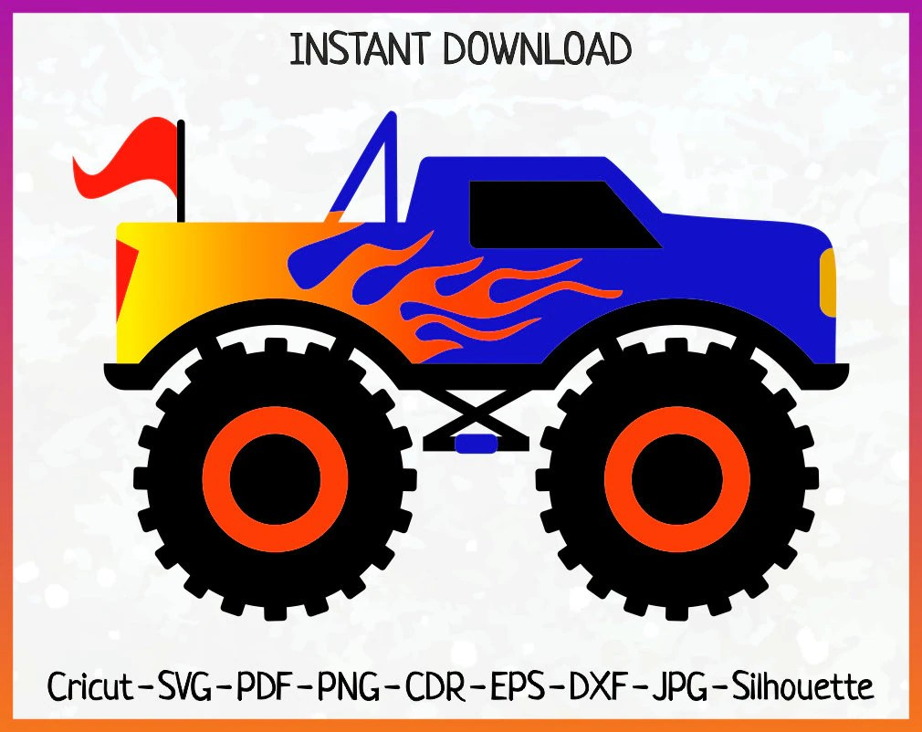 Download Monster Truck SVG Truck Silhouette dxf pdf png Boys Cricut ...