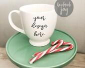 White Mug mock up, Christmas mug mockup with wreath