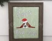 Happy Howlidays print, Christmas Dog, Christmas sign, printable,  Basset Hound, digital download, christmas print,