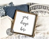 Square sign mock up with boho pillow background