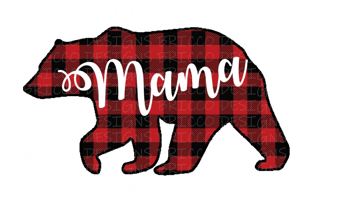 Download Mama Bear Buffalo Plaid PNG Sublimation Design   Etsy