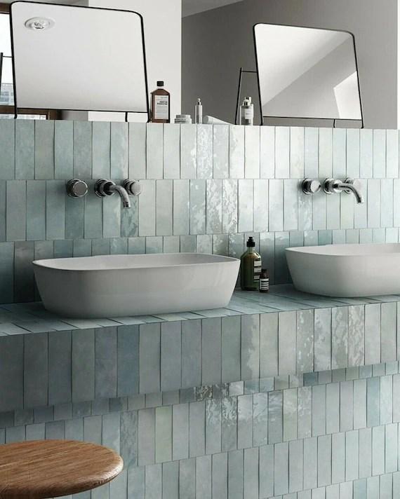 full tile sample zellige aqua blue moroccan wall tiles 6 5 x etsy