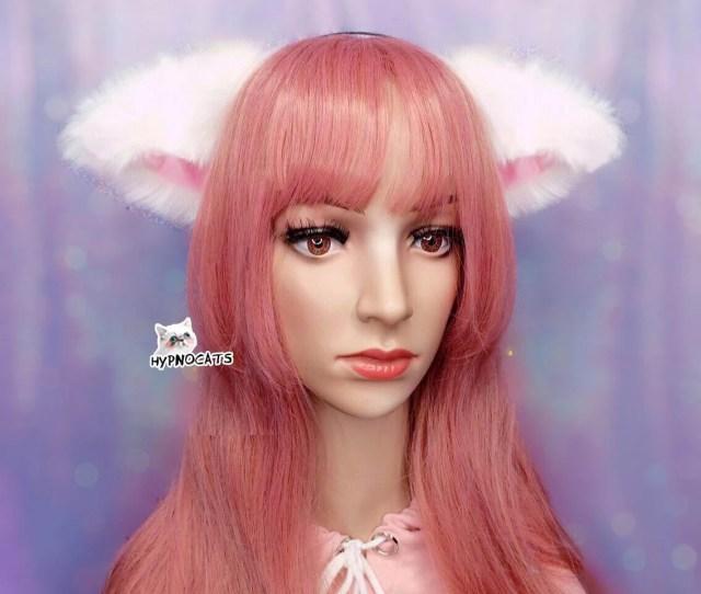 Realistic White Cat Ears Headband Kawaii Fashion Cute Sweet Lolita Black Neko Cosplay Hairband Fluffy Kitty Ears
