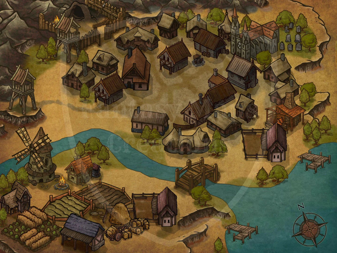 Basic Pre Made Map Wild West Town