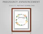 Pregnancy Announcement, January 2021, Flower Wreath, Instant Printable, Digital File