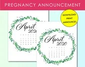 Pregnancy Announcement, April 2020, Flower Wreath, Instant Printable, Digital File