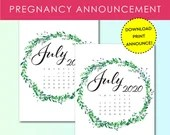 Pregnancy Announcement, July 2020, Flower Wreath, Instant Printable, Digital File