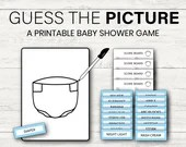 Guess the Picture Baby Shower Game, Blue Shower Game, Printable