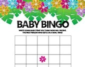 Baby Shower Games, Hawaiian, Flowers, Instant Download, 6 Printables + Answer Sheet