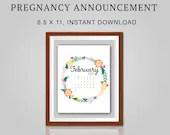 Pregnancy Announcement, February 2021, Flower Wreath, Instant Printable, Digital File