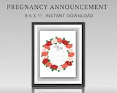 Pregnancy Announcement, May 2021, Red Flower Wreath, Instant Printable, Digital File