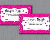 Diaper Raffle Tickets, Pink, Baby Girl, Fancy and Elegant, Instant Download, Printable
