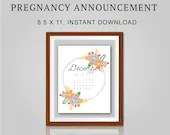Pregnancy Announcement, December 2021, Flower Wreath, Instant Printable, Digital File