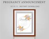 Pregnancy Announcement, December 2021, Flower Wreath, Instant Printable, Digital File
