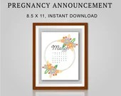 Pregnancy Announcement, March 2021, Flower Wreath, Instant Printable, Digital File