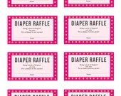 Pink Baby Shower Games, Diaper Raffle, 8 Games + Answer Sheet, Instant Printables