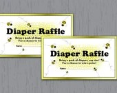 Diaper Raffle Tickets, Bumble Bee, Yellow, Honeycomb, Instant Download, Printable