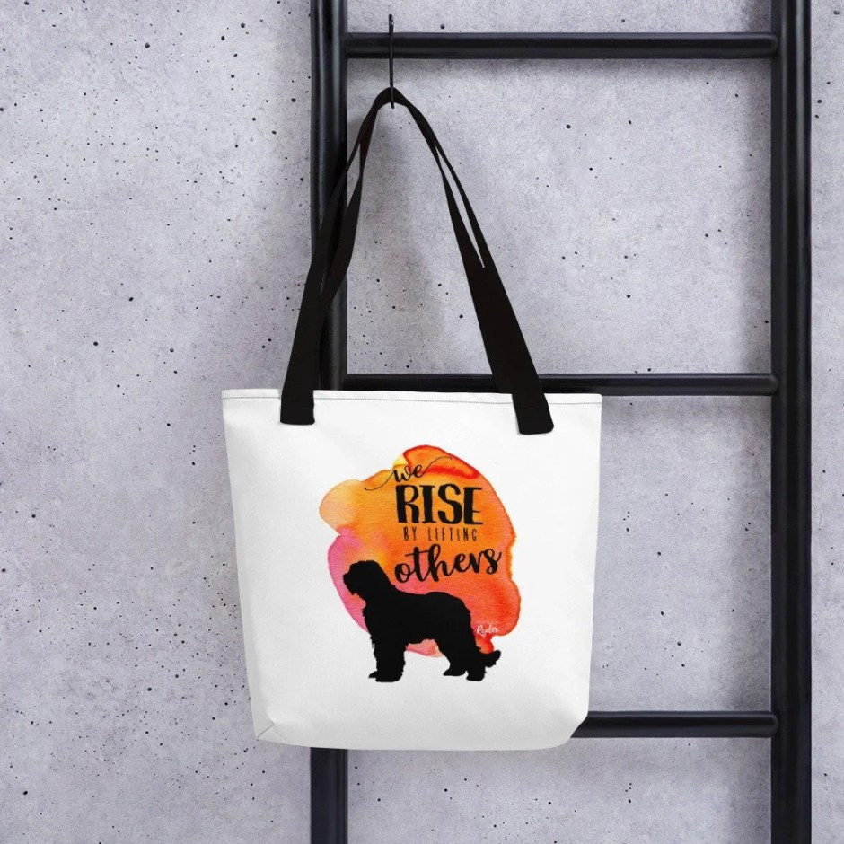 We Rise By Lifting Others, Tote bag, Reusable Grocery Bags, Dog Mom, Bouvier des Flandres, Fluffy Dog