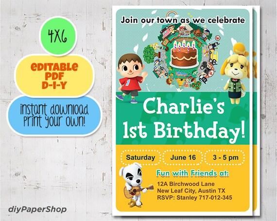 animal crossing birthday invite birthday invitation nintendo birthday printable diy gaming mario zelda pokemon invite