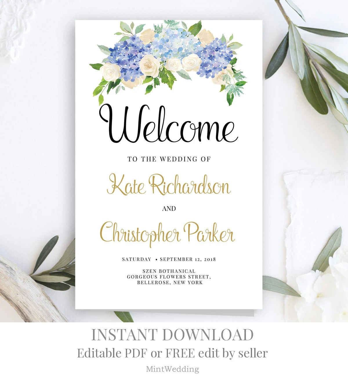 Blue And Cream Flower Wedding Program Template Printable Folded Floral Gold Bloom Garden Ceremony Calligraphy Editable Instant Download Wp14