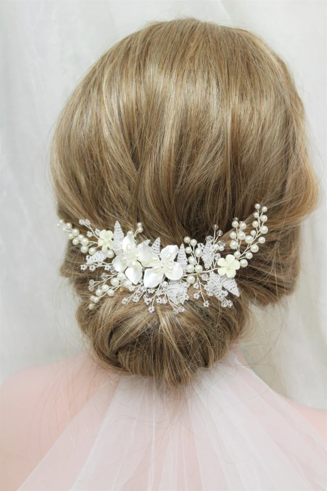 silver bridal hair comb wedding hair comb wedding hair piece back headpiece leaf bridal headpiece floral hair comb wedding hair accessory