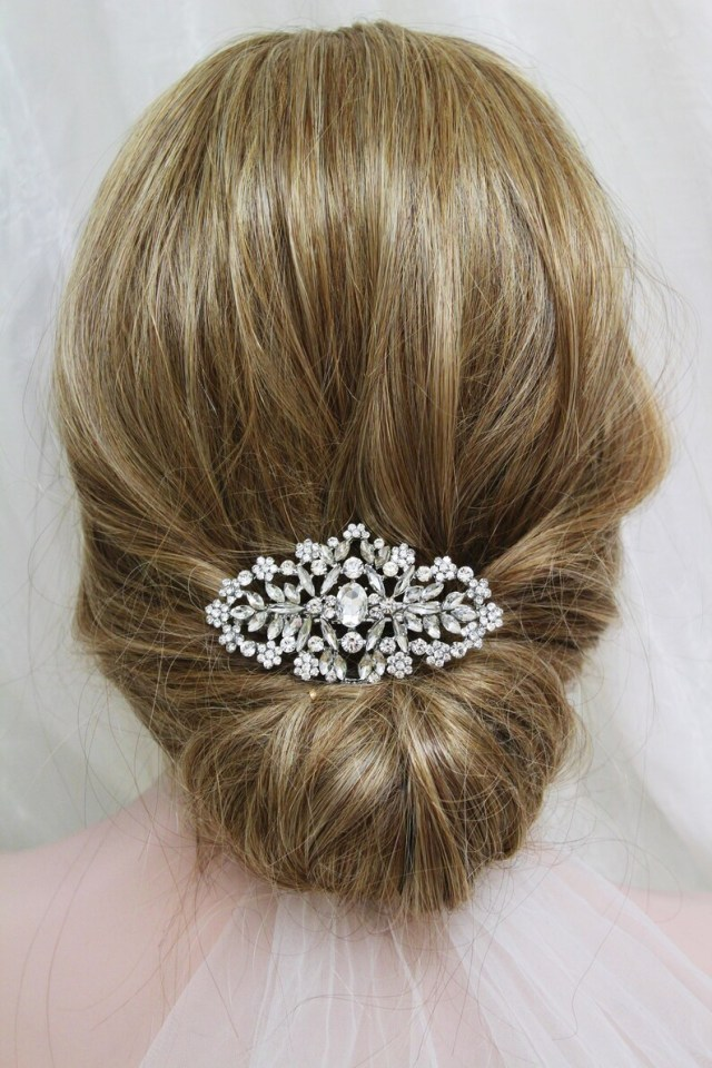 silver crystal wedding hair clip vintage style bridal hair piece crystal hair clip bridal headpiece wedding hair piece barrette clip uk