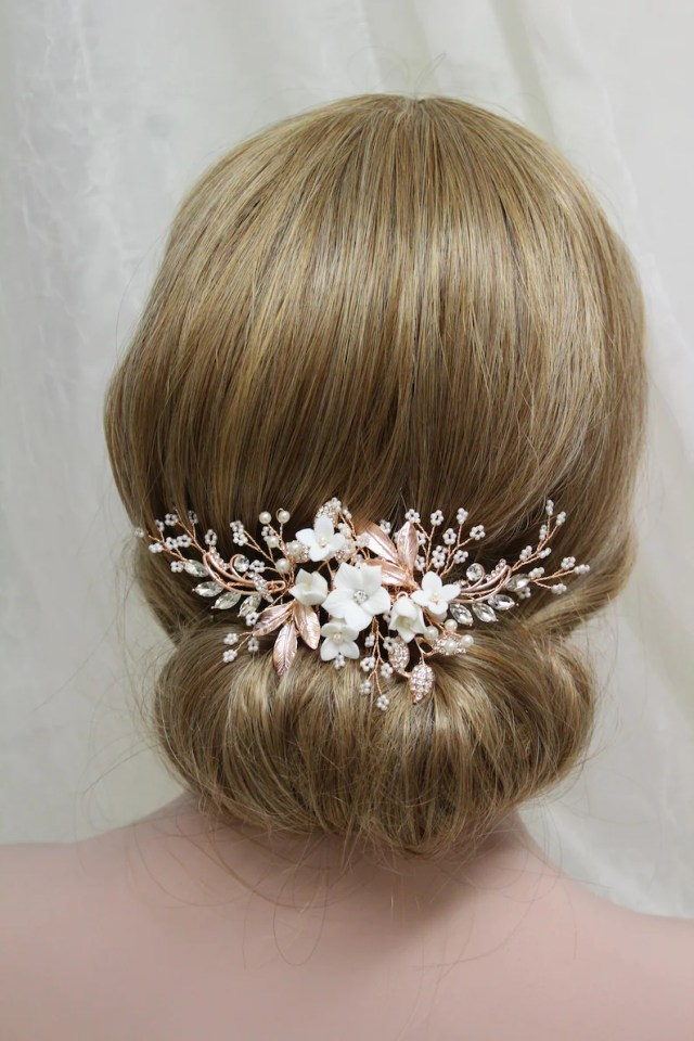 rose gold or silver wedding hair comb, bridal hair comb, wedding hair piece, leaf bridal headpiece, floral wedding hair accessory , uk