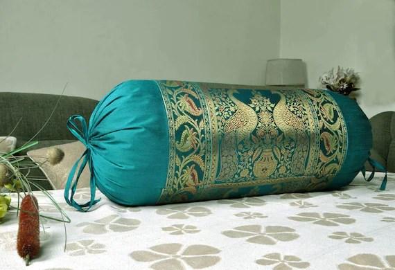 indian silk blend sofa neck roll