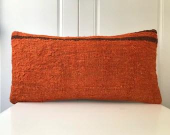 orange kilim pillow etsy