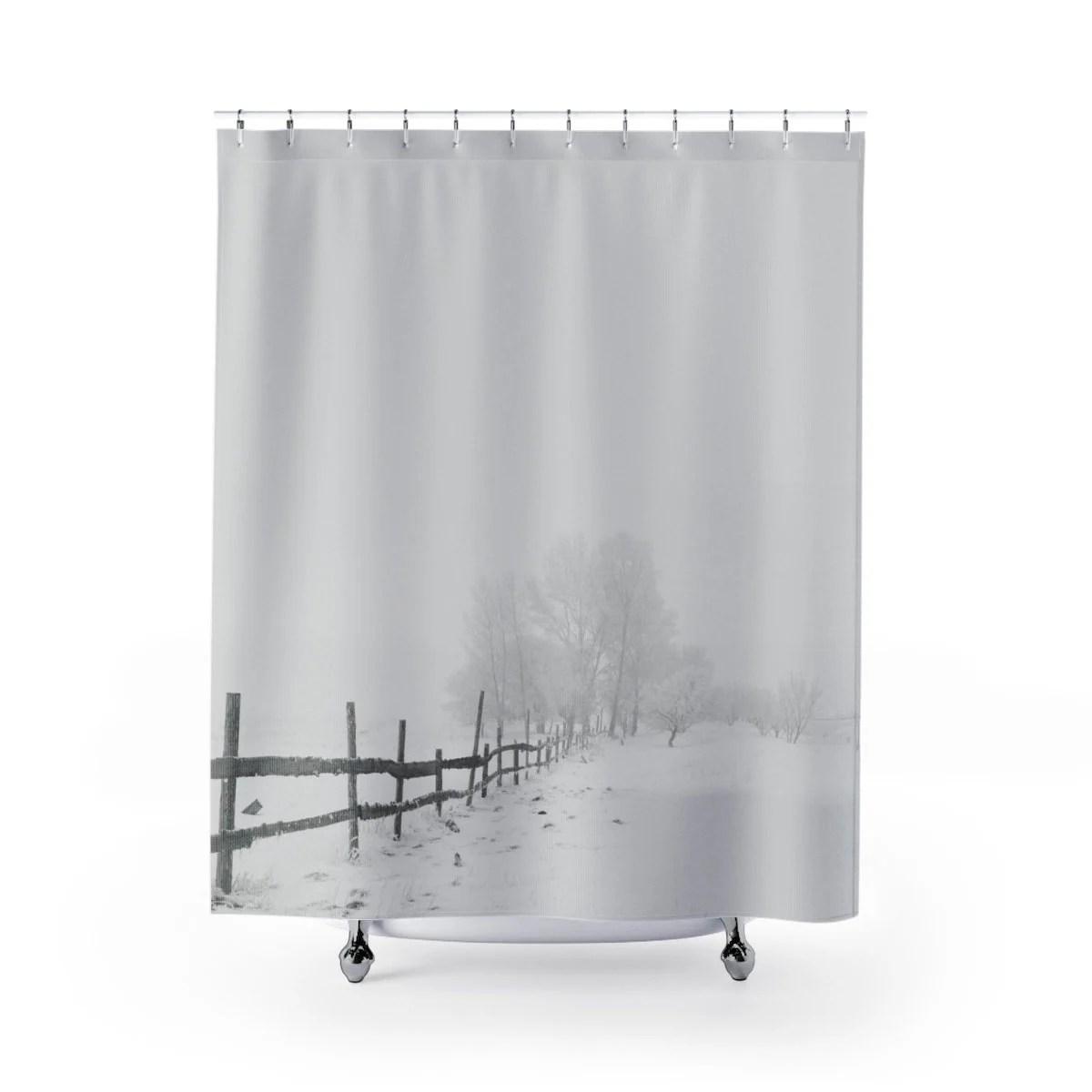 Winter Snow Shower Curtains Shower Curtain Boho White Shower Curtain Modern Shower Curtain Grey Modern Bathroom Decor Christmas Gift