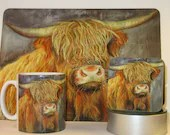 Oorlich Coo Merchandise | Highland Cow Placemats, Coasters and Mugs | Original Art Dining | Scottish Art
