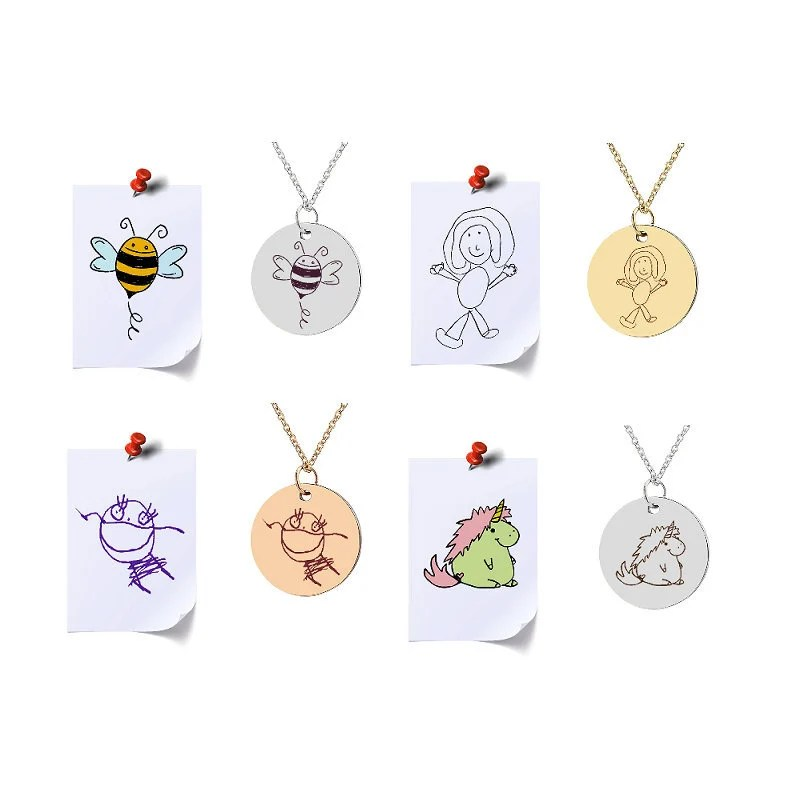 Children Drawing Artwork To Necklace Jewelry Kids Art Etsy