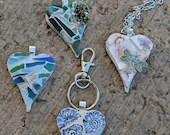 Heart pendant/ mosaic heart necklace pendant/ mosaic necklace pendant/heart shaped necklace pendant/mosaic heart necklace/ heart jewelry
