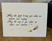 Calligraphy care and comfort card/Sympathy card/Christian sympathy card/care and comfort/hand lettered card/notecards/ Christian note cards/