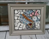 Mosaic wall art- Classy Hat Lady mosaic- vintage jewelry mosaic- vintage dishes mosaic-ready for the derby hat mosaic-picque assiette mosaic