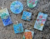 Mosaic pendants/ crash glass art/ crash glass over watercolor/ mosaic pendant jewelry/mosaic jewelry/mosaic crashglass necklace/necklaces