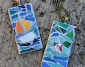 Ocean inspired Jewelry/Mosaic sea inspired pendants/sea ocean jewelry/water lover jewelry/sea lovers jewelry/ocean necklace/sailboat jewelry
