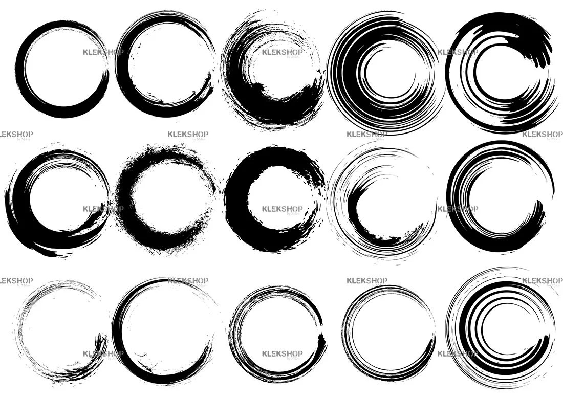 Circle Brush Grunge Collection Clip Art Vector Hand