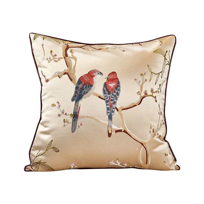 bird pillow covers silk throw pillow
