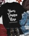 Fall T Shirt Mock Up Bella Canvas 3001 Black Unisex Women Etsy